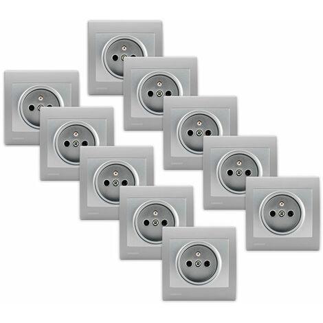 Lot de 10 Prises 2P+T Silver Delta Iris + Plaques basic Silver - SIEMENS
