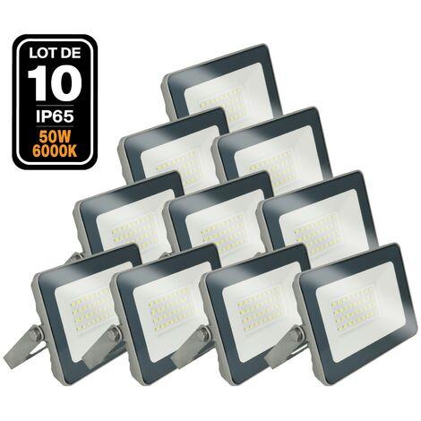 Lot de 10 Projecteurs LED 50W Classic 6000K Haute Luminosité