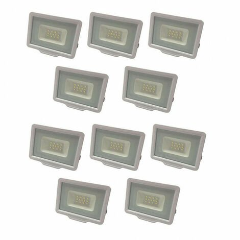Lot de 10 Projecteurs LED Blancs 10W (50W) Étanche IP65 800lm - Blanc Naturel 4500K