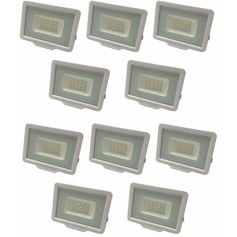 Lot de 10 Projecteurs LED Blancs 20W (100W) Étanche IP65 1600lm - Blanc Naturel 4500K