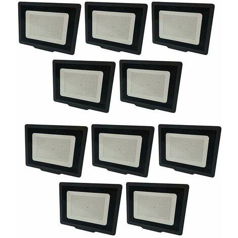 Lot de 10 Projecteurs LED Noirs 100W (500W) IP65 8000 lumens - Blanc Naturel 4500K