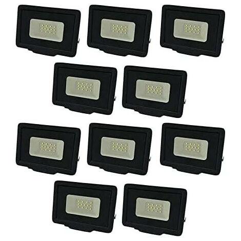 Lot de 10 Projecteurs LED Noirs 10W (50W) Étanche IP65 800lm - Blanc Naturel 4500K