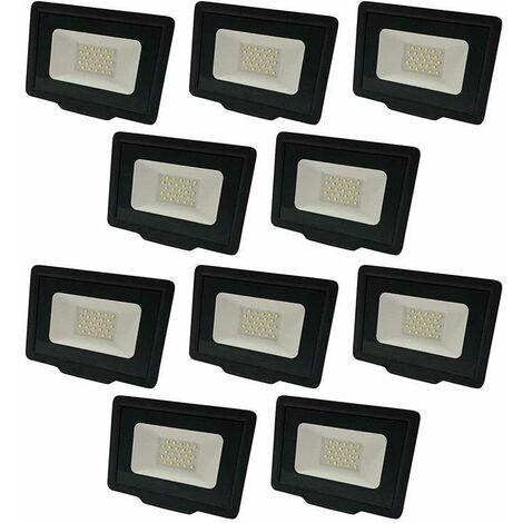 Lot de 10 Projecteurs LED Noirs 20W (100W) Étanche IP65 1600lm - Blanc Naturel 4500K