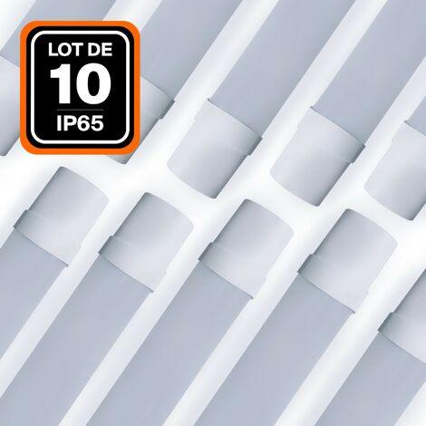 LOT DE 10 RÉGLETTES LED 36W 120CM ÉTANCHE IP65 BLANC NEUTRE