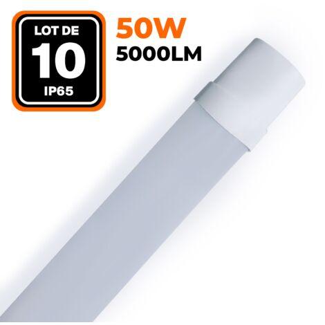 LOT DE 10 RÉGLETTES LED 50W 5000LM 60CM ÉTANCHE IP65