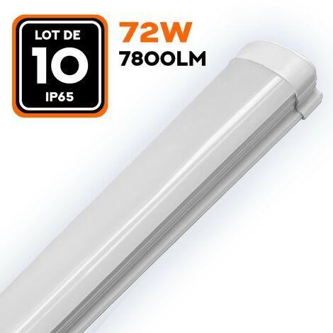 LOT DE 10 RÉGLETTES LED 80W 8000LM 120CM ÉTANCHE IP65
