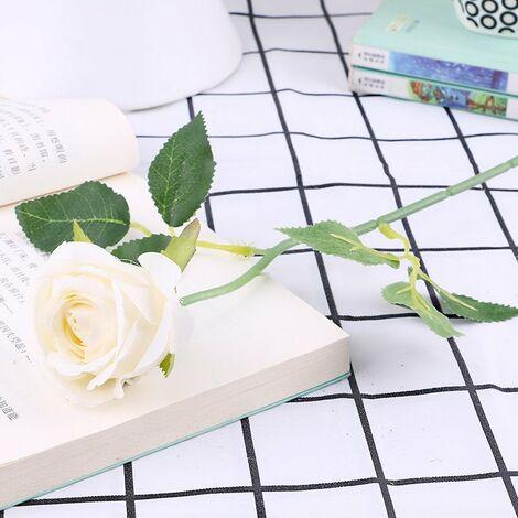 Lot de 10 roses artificielles, en flanelle avec perle pour décoration de table A