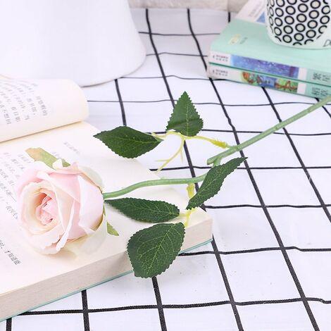 Lot de 10 roses artificielles, en flanelle avec perle pour décoration de table B