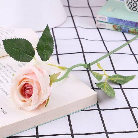 Lot de 10 roses artificielles, en flanelle avec perle pour décoration de table C