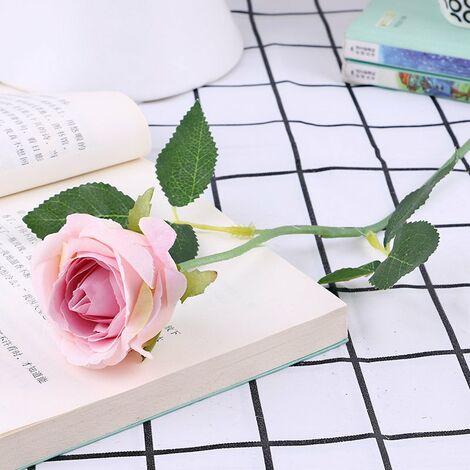 Lot de 10 roses artificielles, en flanelle avec perle pour décoration de table D