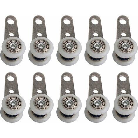 Lot de 10 roulettes pour baies vitrées ou portes coulissantes - en métal et en plastique - 4,5 x 1,9 cm
