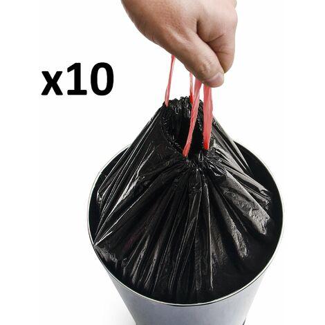 Lot de 10 sacs poubelles 50L pour poubelles hautes avec lien coulissant