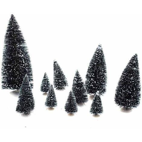 Lot de 10 sapins verts enneigés pour village de noël