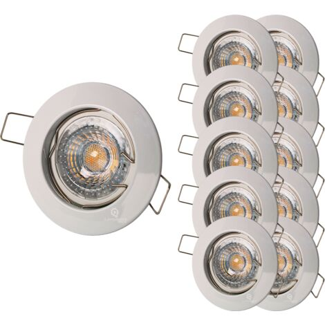 LOT DE 10 SPOT ENCASTRABLE FIXE LED 230V BLANC AVEC AMPOULE GU10 38° 5W eq.ENV 50W