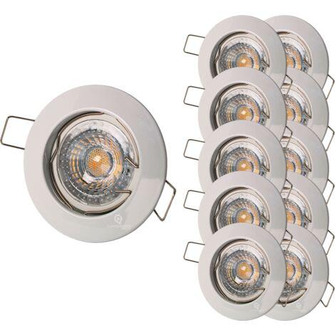 LOT DE 10 SPOT ENCASTRABLE FIXE LED 230V BLANC AVEC AMPOULE GU10 38°