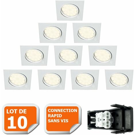 LOT DE 10 SPOT ENCASTRABLE ORIENTABLE CARRE LED SMD GU10 230V BLANC RENDU ENVIRON 50W HALOGENE
