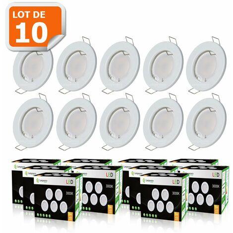LOT DE 10 SPOT LED COMPLETE RONDE FIXE eq. 50W BLANC CHAUD