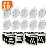 LOT DE 10 SPOT LED COMPLETE RONDE FIXE eq. 50W BLANC CHAUD