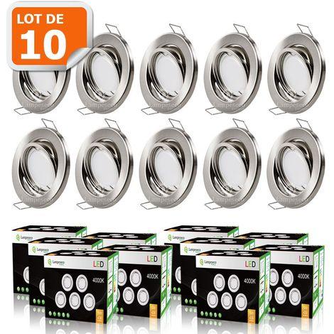LOT DE 10 SPOT LED ENCASTRABLE COMPLETE ORIENTABLE ALU BROSSE AVEC AMPOULE GU10 230V 5W, BLANC NEUTRE