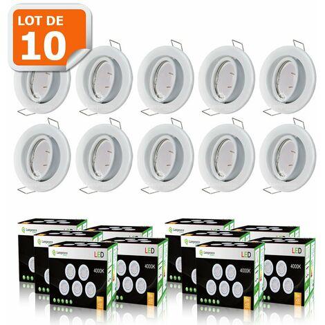 LOT DE 10 SPOT LED ENCASTRABLE COMPLETE ORIENTABLE BLANC AVEC AMPOULE GU10 230V eq. 50W, LUMIERE BLANC NEUTRE