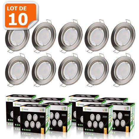 LOT DE 10 SPOT LED ENCASTRABLE COMPLETE RONDE FIXE ALU BROSSE eq. 50W BLANC CHAUD