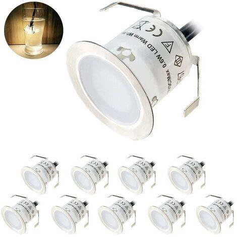 Lot de 10 Spot LED Encastrable Extérieur, IP67 Étanche, Lumière Blanc Chaud 3000K, Lampe de sol 32MM 0.6W DC12V pour Chemin Terrasse Bois Piscine Escalier