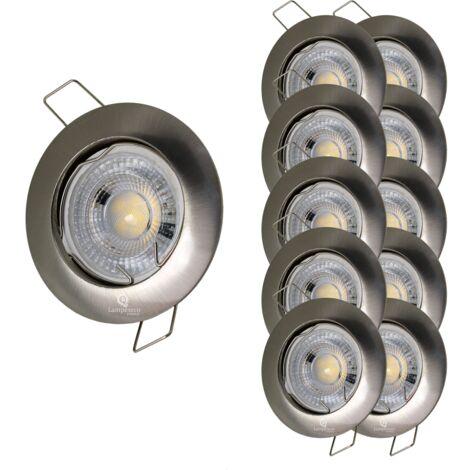 LOT DE 10 SPOT LED FIXE COMPLETE ALU BROSSE 38°