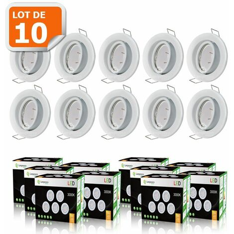 LOT DE 10 SPOT LED ORIENTABLE BLANC AVEC AMPOULE GU10 230V eq. 50W, BLANC CHAUD
