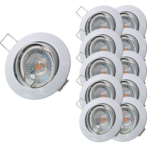 LOT DE 10 SPOT LED RONDE BLANC ORIENTABLE 38° BLANC NEUTRE