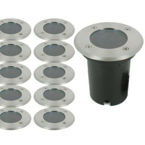 Lot de 10 Spots Encastrable de sol INOX 304 GU10