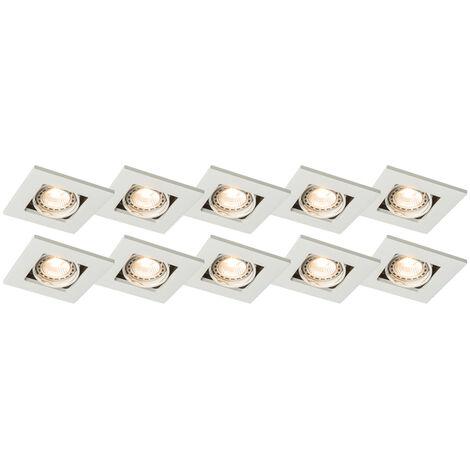 Lot de 10 spots encastrables blanc orientable - Qure Qazqa Moderne, Design Luminaire interieur
