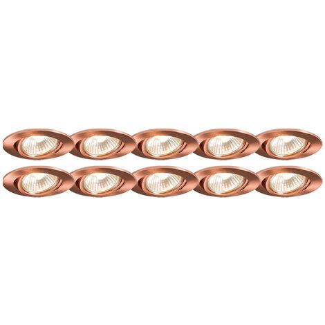 Lot de 10 spots encastrables en cuivre inclinable - Cisco Qazqa Moderne Cage Lampe Luminaire interieur Rond