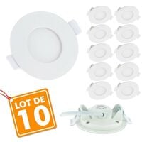 Lot de 10 Spots Encastrables LED Panel Extra-Plat 3W
