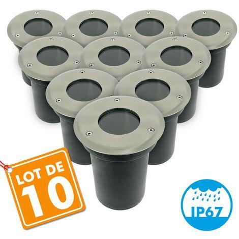 Lot de 10 Spots encastrables sol INOX 304 GU10 IP67