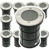 Lot de 10 Spots Exterieur Encastrable IP67 230V Acier Rond double presse-étoupe.