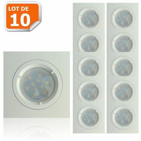 Lot de 10 Spots Led Blanc Carré lumière Blanc Neutre 5W eq. 50W ref.464