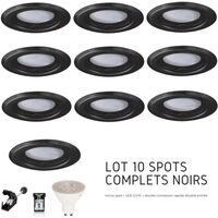 Lot de 10 spots Led GU10 encastrables noirs Led 7W rendu 50W 120 blanc chaud