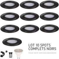 Lot de 10 spots Led GU10 encastrables noirs Led 7W rendu 50W 120 blanc neutre