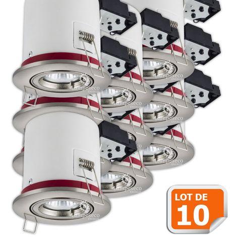 Lot de 10 Support de spot BBC Orientable Alu Brossé 100mm avec douille GU10 automatique ref. 819