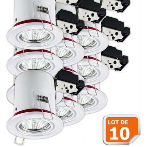 Lot de 10 Support de spot BBC Orientable Blanc diametre 90mm avec douille GU10 ref. 826