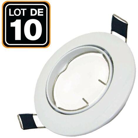 Lot de 10 Support Spot LED Orientable Rond D82 Blanc