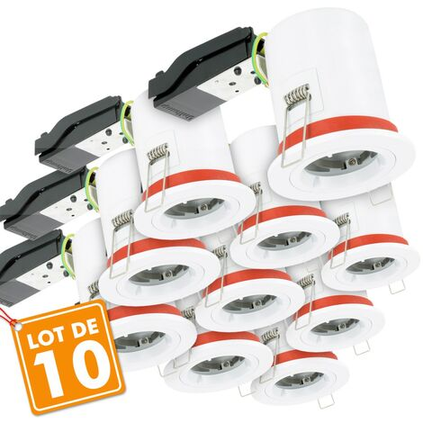 Lot de 10 Supports de spot BBC D87 avec douille GU10 automatique