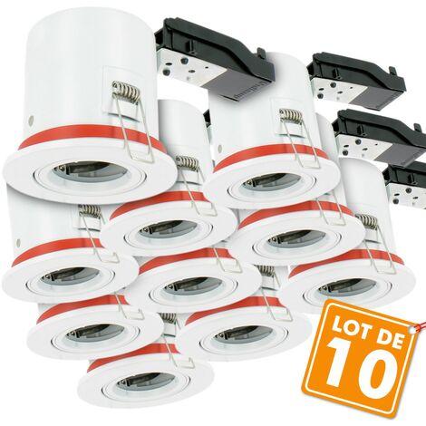 Lot de 10 Supports de spot Orientable BBC D100 avec douille GU10 automatique