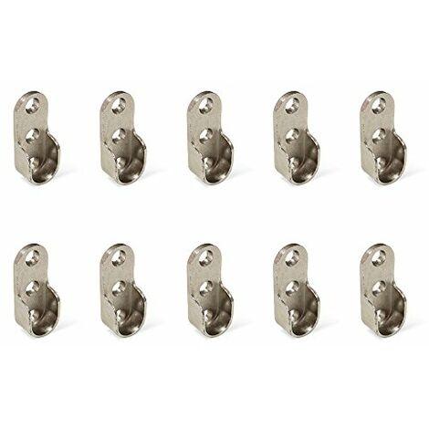 Lot de 10 supports EMUCA pour barre de penderie armoire en zamak finition nickelé - 7065107