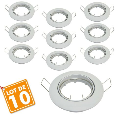 Lot de 10 supports encastrable orientable blanc D82