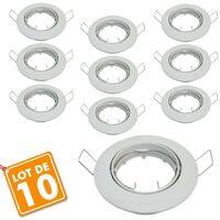 Lot de 10 supports encastrable orientable blanc D82