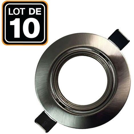 Lot de 10 Supports spot orientable Inox Diametre 82mm trou de perçage 65mm