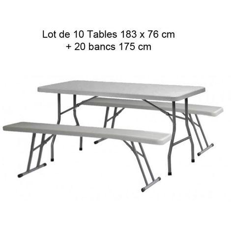 Lot de 10 Tables polyéthylène qualité pro 183cm + 20 bancs polyéthylènes