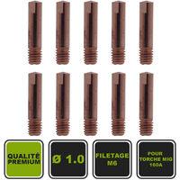 Lot de 10 tubes de contact pour torches MIG 160A ø 1.0 / M6x25