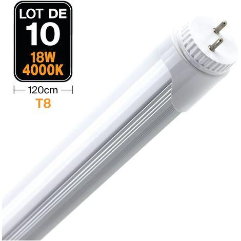Lot de 10 Tubes LED Glass T8 18W 120cm Blanc Neutre 4000K